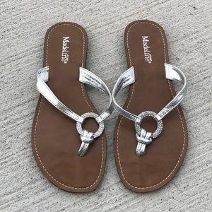 [Madeline Stuart] Silver Jeweled Sandals